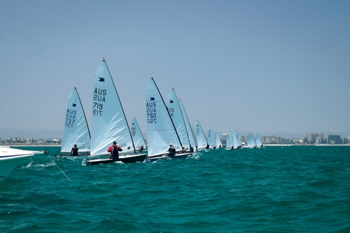 The OK Dinghy fleet total of 32 entries
